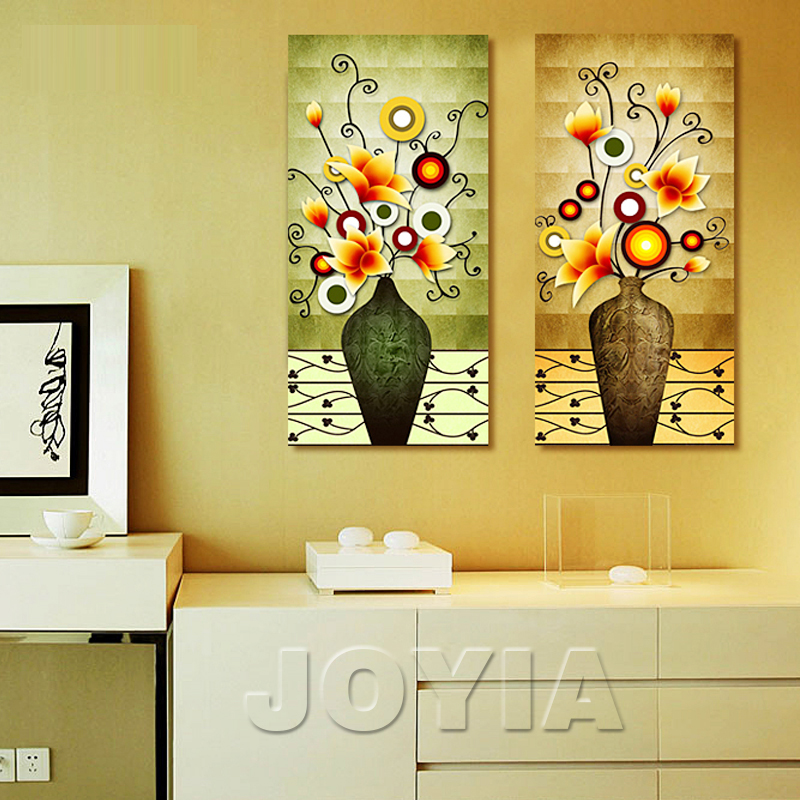 2 Piece Flower Vase Retro Vintage Wall Pictures Magnolia Painting ...