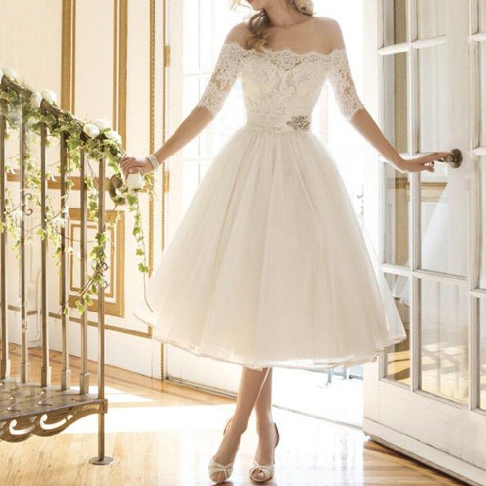 2d9e91577cd new elbise white Women dress elegant Ladies vintage Off shoulder summer  dresses 2018 Half Sleeve mid Party Cocktail Lace Dress