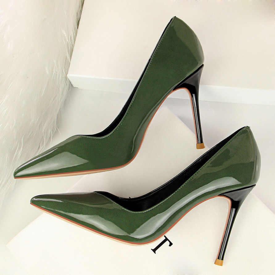 31ae7fe749c ... 2019 Woman s High Heel Stiletto Scarpins Pumps Female Quality Green  Wedding Bridal Maroon Luxury Quality Escarpins ...