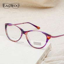 ФОТО eagwoo women cat eye designed eyeglasses full rim optical frame prescription fashion eye glasses new arrival tortoise gray 8158