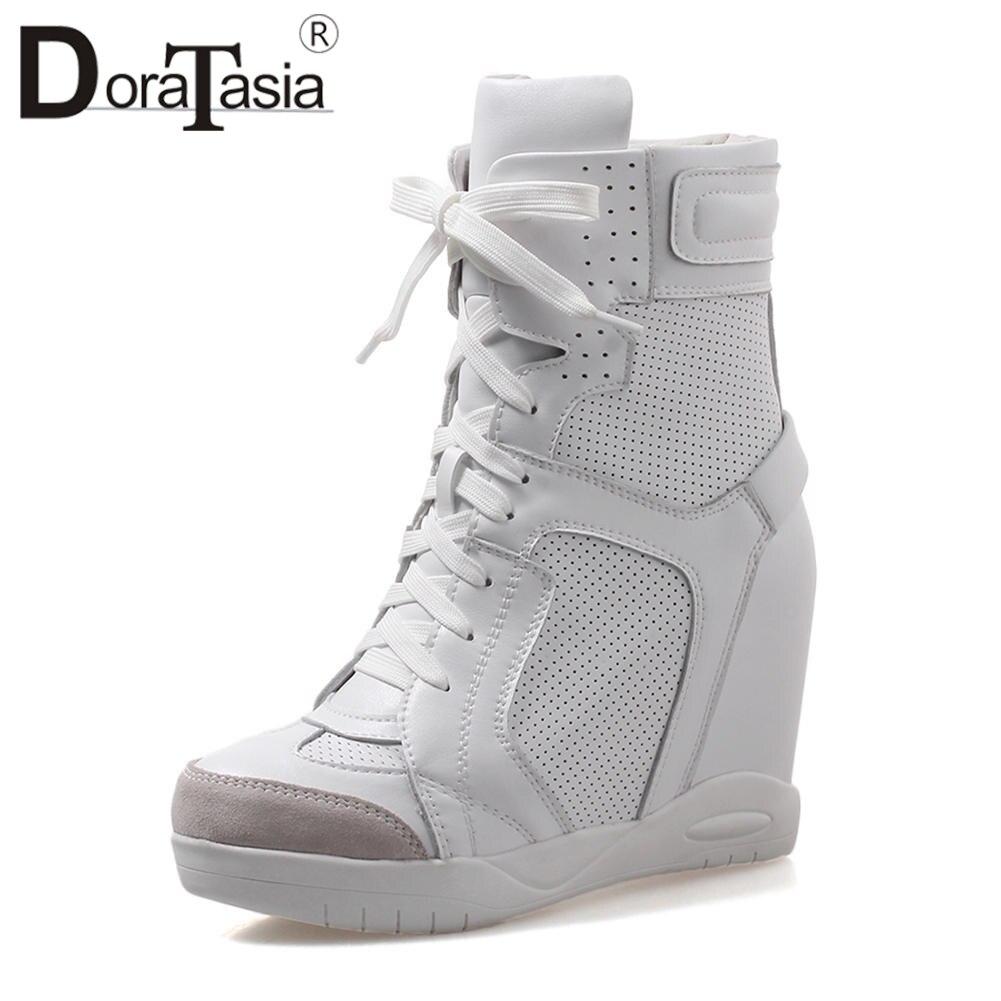 Ayakk.'ten Ayak Bileği Çizmeler'de DoraTasia Marka Yüksekliği Artan Patik Bayanlar Hakiki Deri yarım çizmeler Kadınlar 2019 Kadın Platformu Yüksek Ayakkabı Kadın 32 40'da  Grup 1
