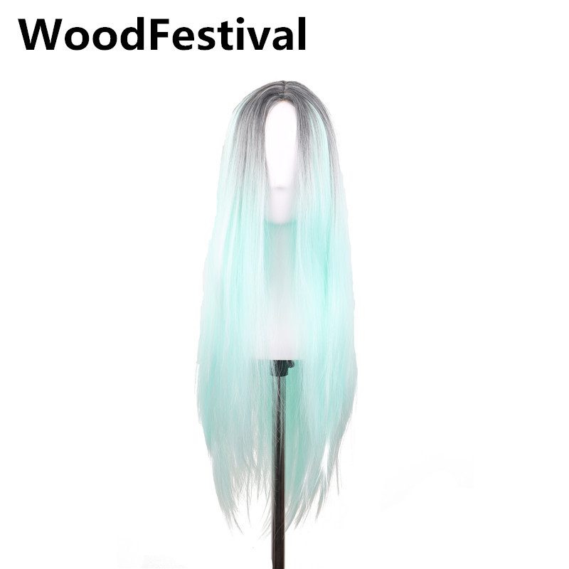 WoodFestival ombre green wig long wig straight synthetic wigs for women heat resistant w ...