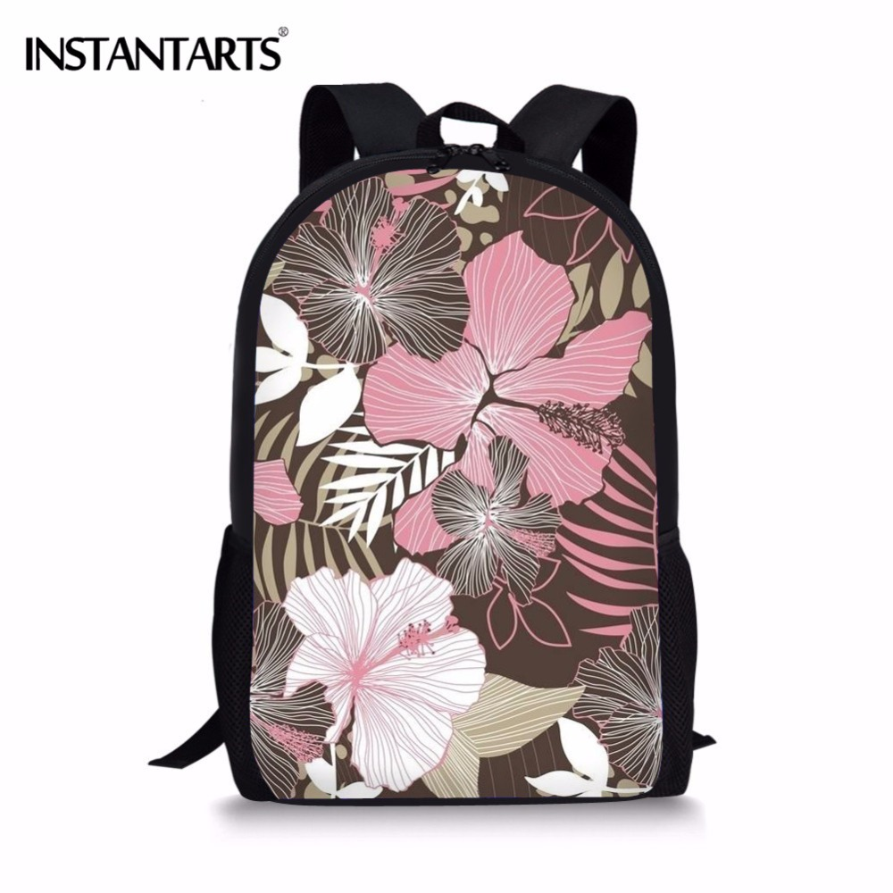 INSTANTARTS 3D Vintage Floral Pattern Women Children Casual Large Schoolbags Backpack Primary Child School Bagpack Kids Satchel