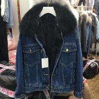 Autumn winter Women coat Korean fox fur collar thick detachable real rabbit fur liner denim loose jacket female 2019 parka