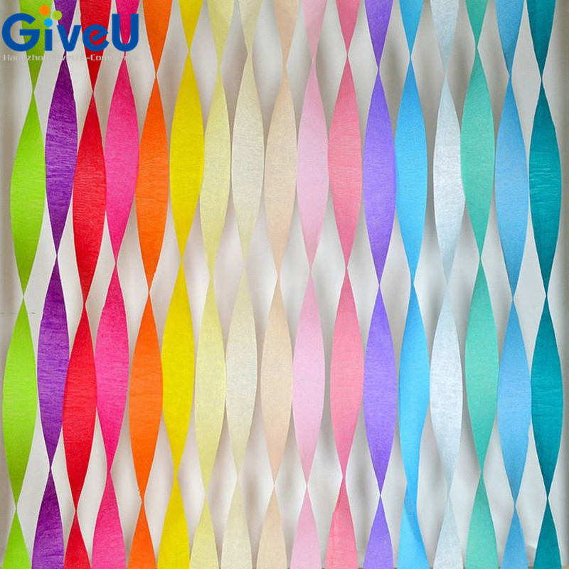 GiveU 6roll/lot Total 150m DIY Crepe Paper Streamers