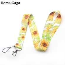 Homegaga sunflowers keychain lanyard webbing ribbon neck strap fabric para id badge phone holders necklace accessories D1773