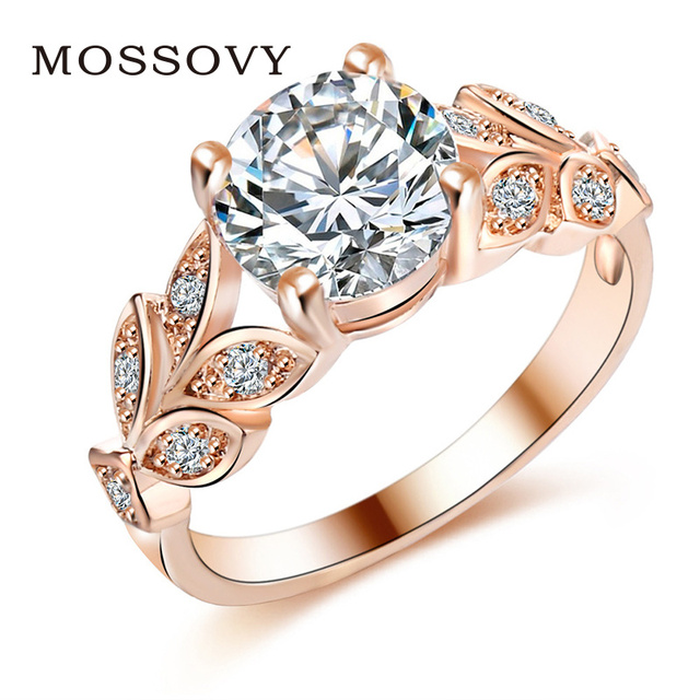 Mossovy Leaf Rose Gold Silver Zircon Engagement Ring for Female Fashion  Jewelry Crystal Wedding Rings for Women Aretes De Mujer 6f8278c521e1