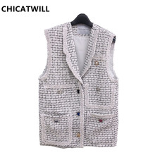 CHICATWILL 2019 New Autumn Womans Elegant Sleeveless Plaid Vests Office Lady Tweed Jackets Women Casual Tops Outerwears