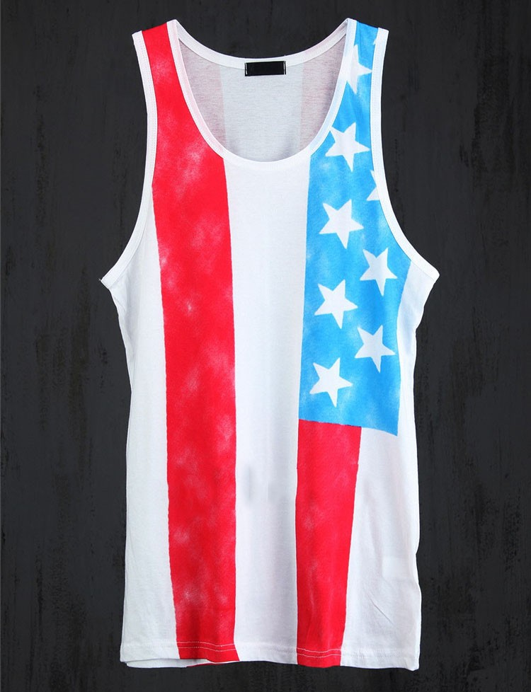 Tank Tops Men 2016 Cool Gym Shark Tshirt Casual Singlet National flag Vest Striped Slim Fit Gym Sport Sleeveless Hip Hop Clothes (6)