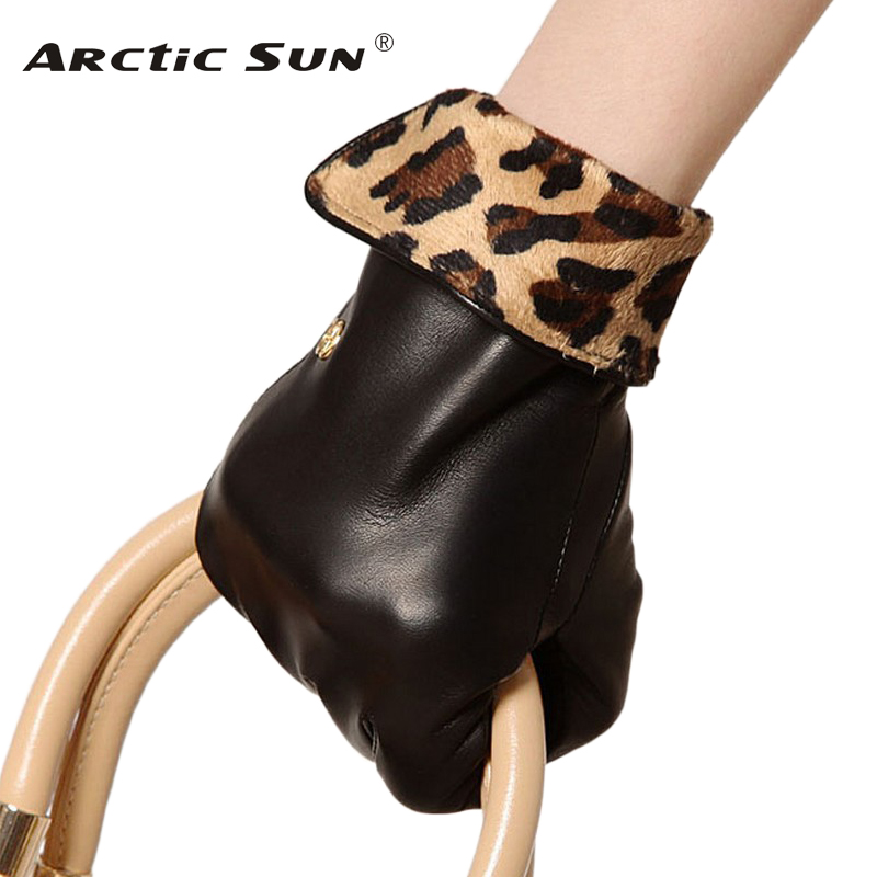 Brand Genuine Leather Gloves Fashion Leopard Women Sheepskin Gloves Autumn Winter Plus Velvet Elegant Lady Glove L127NC
