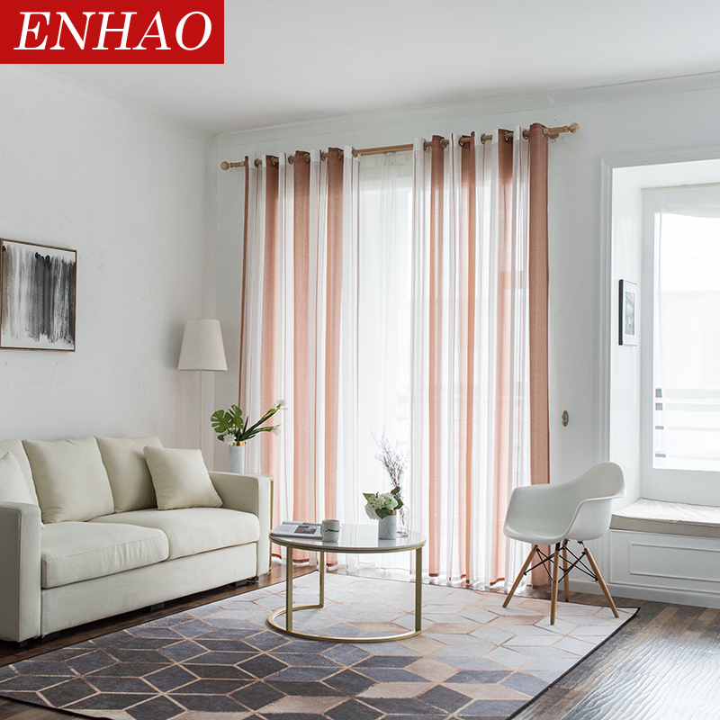 ENHAO Simplicity Striped Modern Tulle Curtains For Living Room Bedroom Kitchen Linen Window Voile Sheer Curtain For Window Tulle