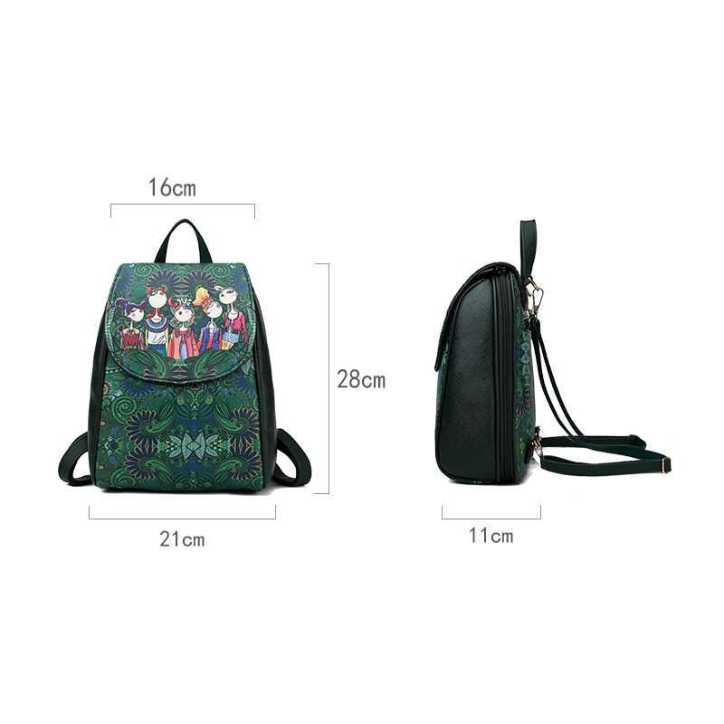 276fa1a688ed ... Зеленый лес Bagpack Высокое качество искусственная кожа Школьные сумки  для девочек-подростков 2018 Для женщин ...