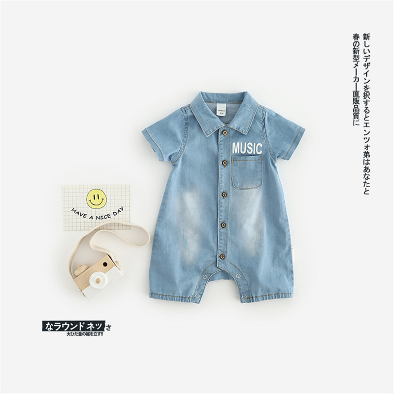 Baby boy summer jumpsuit short sleeve tiny cotton newborn baby girl boys denim romper toddler newborns romper infant clothes summer cotton baby rompers infant toddler jumpsuit lace collar short sleeve baby girl clothing newborn overall clothes