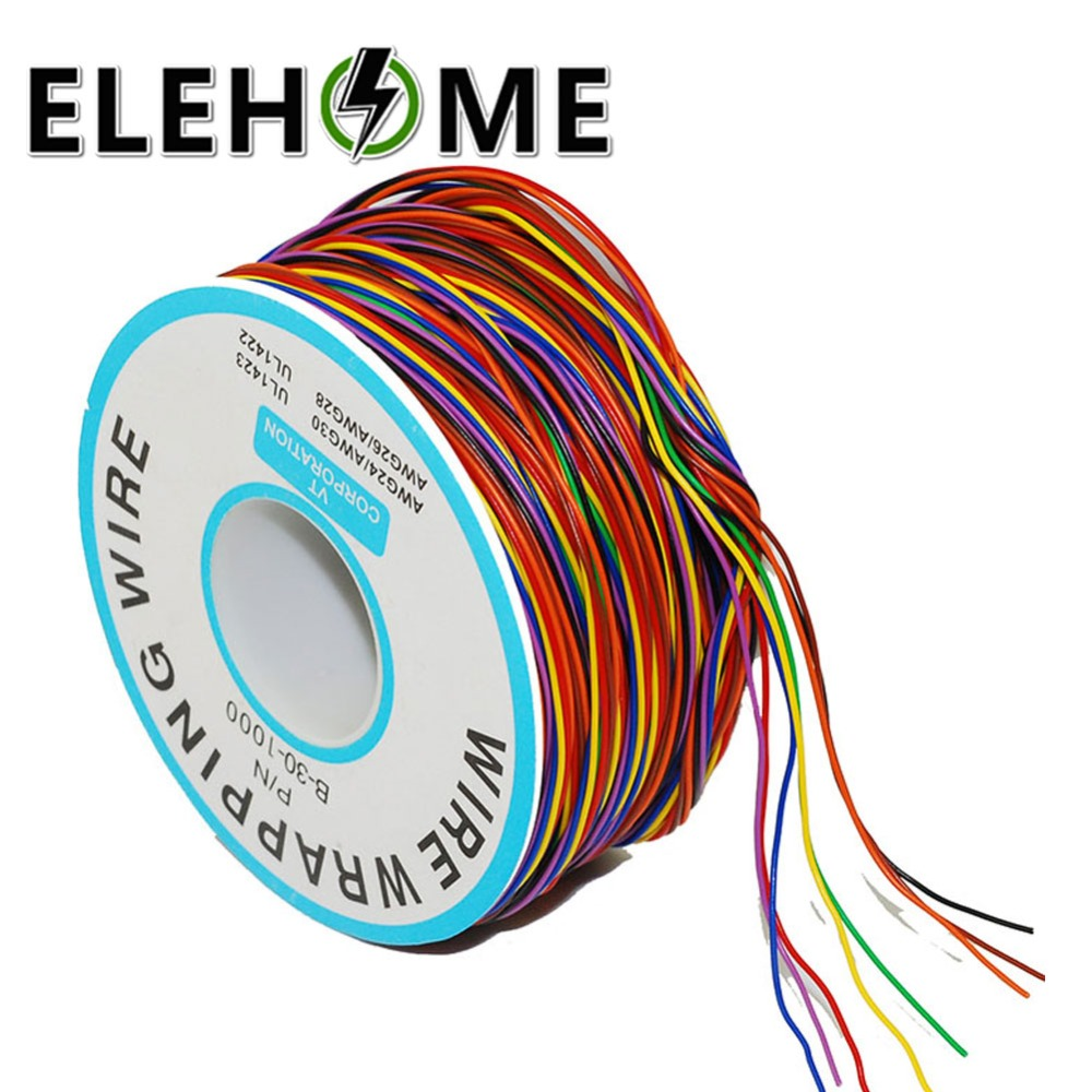 One Roll 8 Colors 30AWG Wire Wrapping Tinned Copper Solid PVC insulation Single Strand Copper Cable Ok Wire Electrical Wire XF30 high quality electrical wire wrapping wire wrap 10 colors single strand copper awg30 cable ok wire