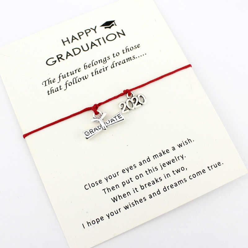 2019 2020 absolwent koparka łańcuchowa, koparka do rowów Cap kwadratowy College Cap dyplom urok karty regulowane bransoletki kobiety mężczyźni biżuteria prezent z okazji ukończenia szkoły