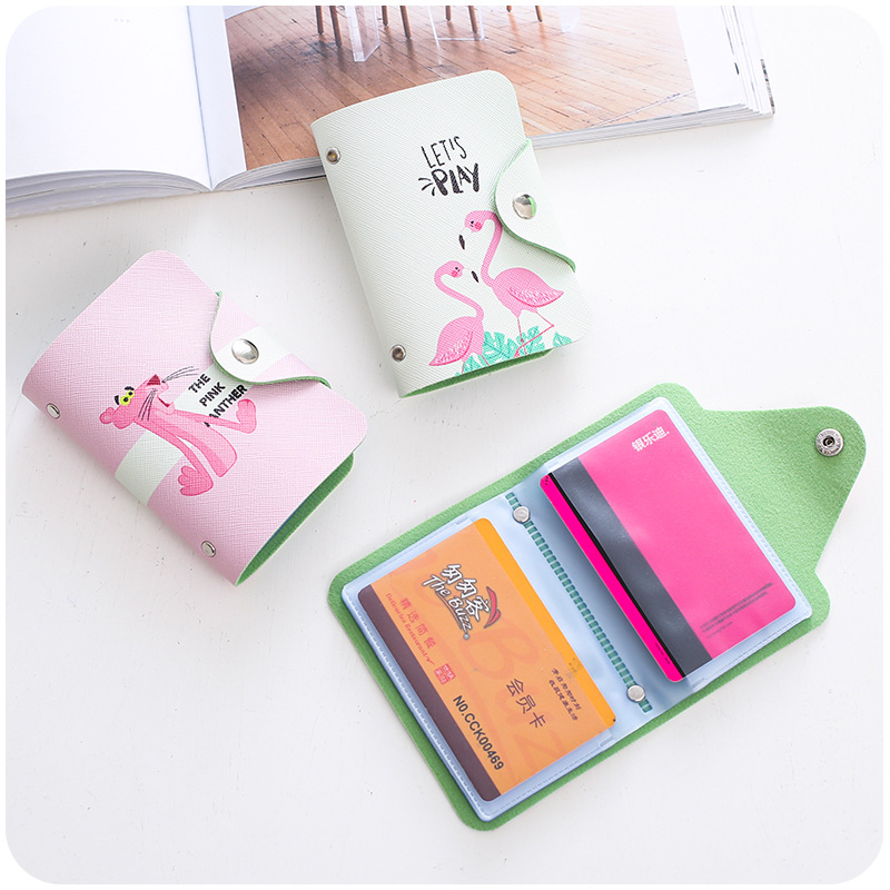 Leather Credit Card Holdert Protector Cute Cartoon ID Cards Card Case Studen Women Wallet Passport Business Card Holder