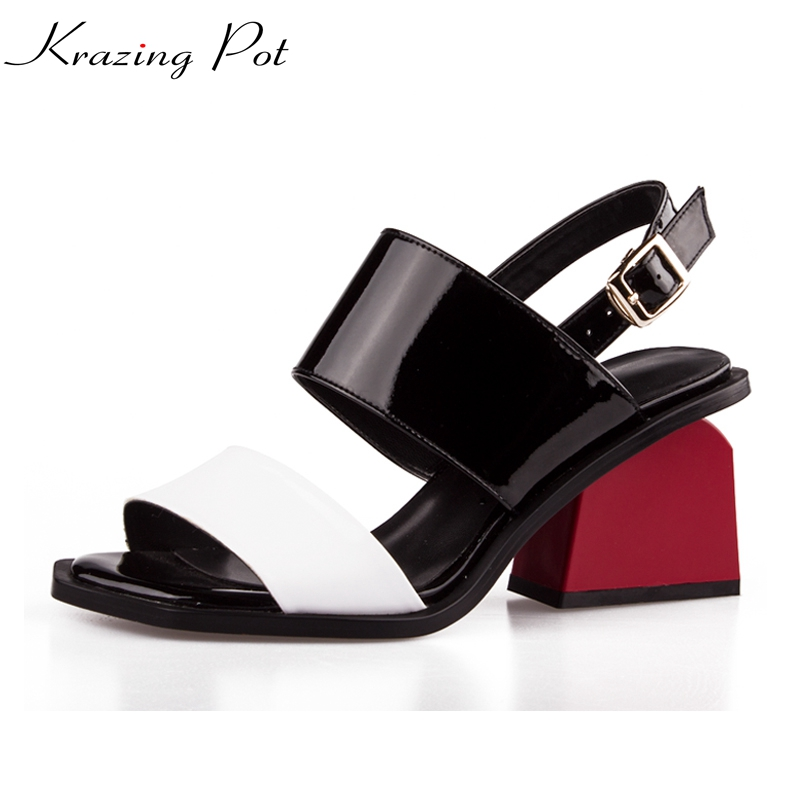 2019 big size brand patent square peep toe buckle strap women sandals red high heels mixed