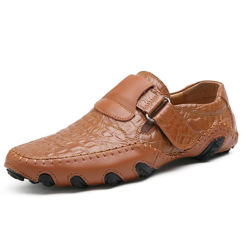 Conduite Hommes Mode Chaussures En brown Black De Lanlojer Glissement Marque Luxe Cuir Main Véritable Respirant Casual Mocassins PIRxqOpBw