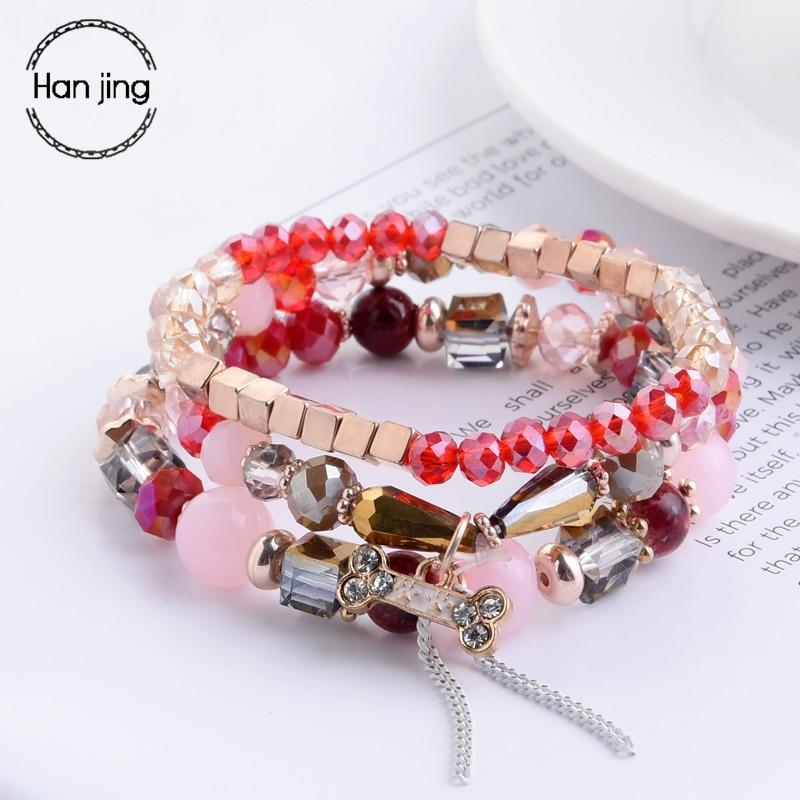 Luxury Brand Jewelry Red Crystal Beads Bracelets For Women Boho Charm Bracelet Set Wedding Party Love Gift Fashion Accessories