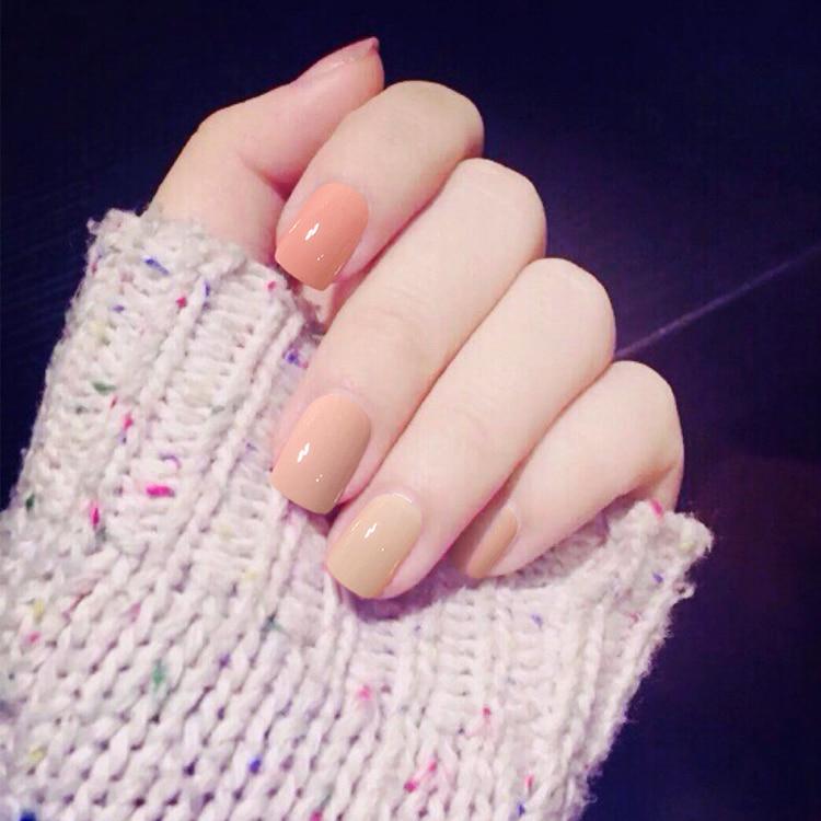 24pcs Nail art products Jump color pure color fake nails ...