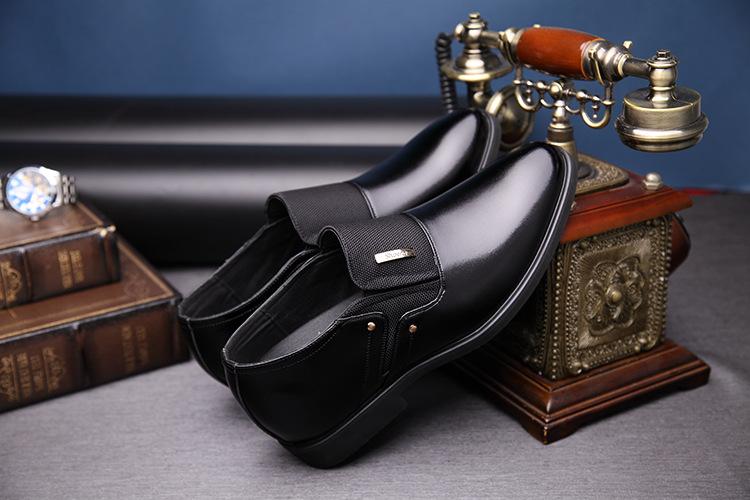 NPEZKGC Men Dress Shoes Slip-on Black Oxford Shoes For Men Flats Leather Fashion Men Shoes Breathable Comfortable Zapatos Hombre 8