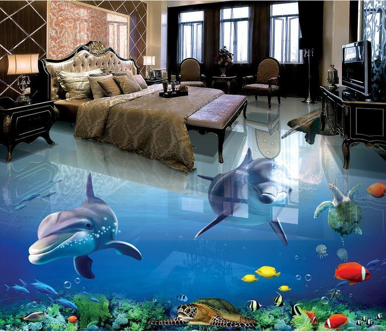 Wallpaper For Walls Custom 3d Floor Tiles The Underwater