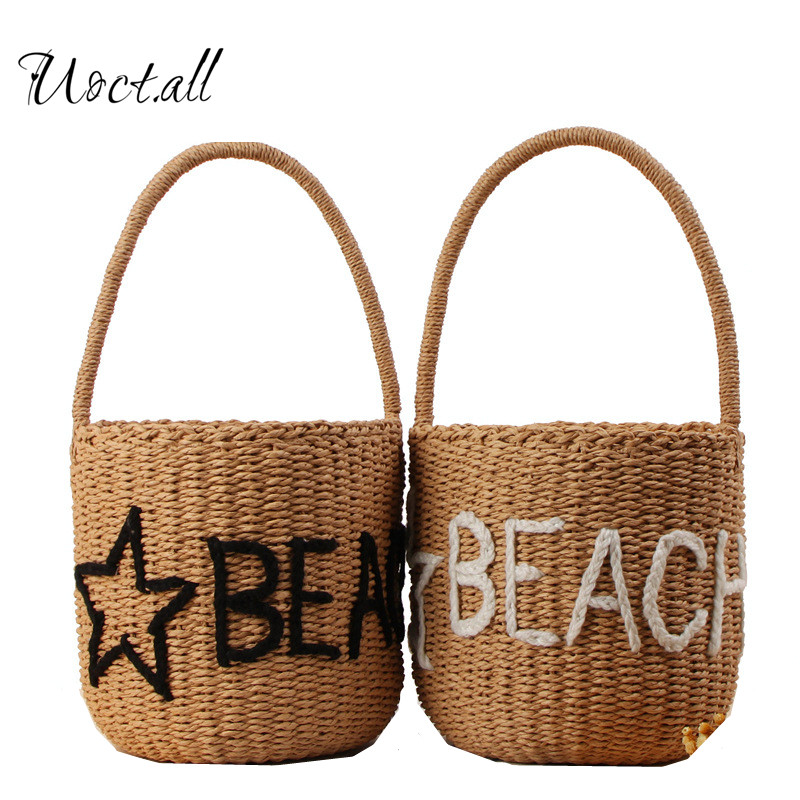 Uoct.all 2018 New Cylinder Hand Carry Straw Bag Paper Rope Hand-woven Bucket Bag Stars letter Beach Bag