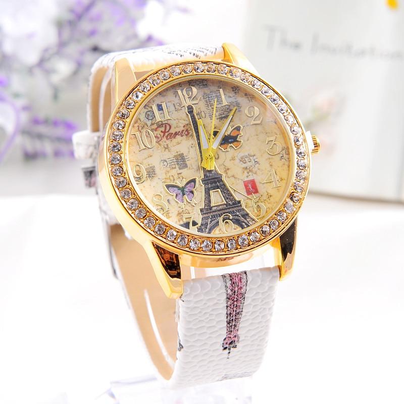 Women's Casual Luxury Leather Rhinestone Watch Analog Quartz Women Wristwatch  Paris Tower Butterfly Print Ladies Watch Clock #B
