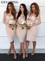 Elegant Long Sleeves Blush Short Bridesmaid Dress Off Shoulder Lace Boat Neck Knee Length Sheath Wedding Guest Party Dress Cheap