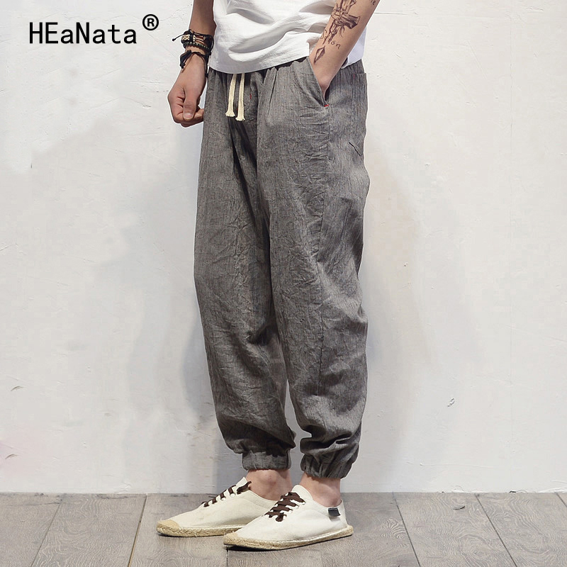 Harem Pants Harajuku Trousers Linen Fitness Hip-Hop Summer Cotton Casual Brand Male Men