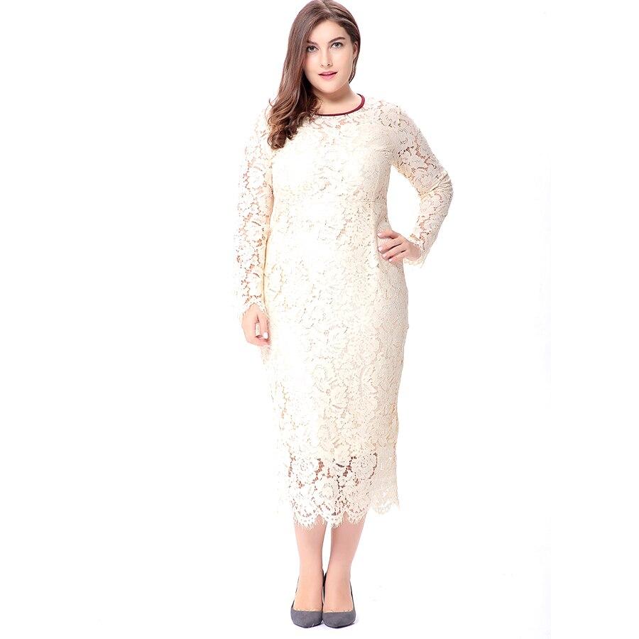 381265e640b5 Femmes de Plus La Taille Blanc Doux Leah Dentelle Robe 6XL Grand taille  Vêtements Femmes Nouveau 2018 Printemps à Manches longues Dames Élégantes  robes