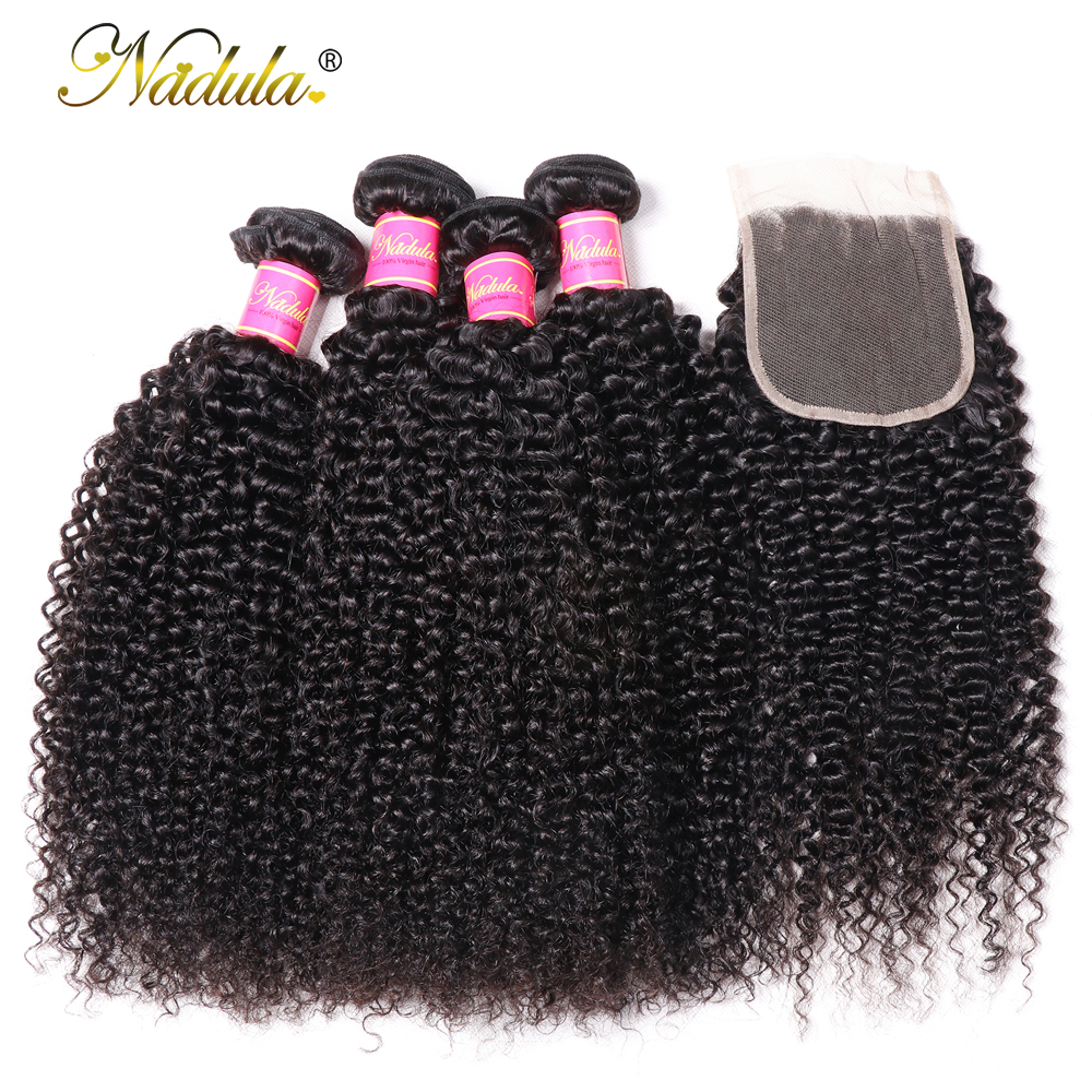 Nadula Hair Kinky Culry Bundles With Lace Closure 4*4 Closure With  Bundles 2/3/4 Bundles With Closure  Hair 3