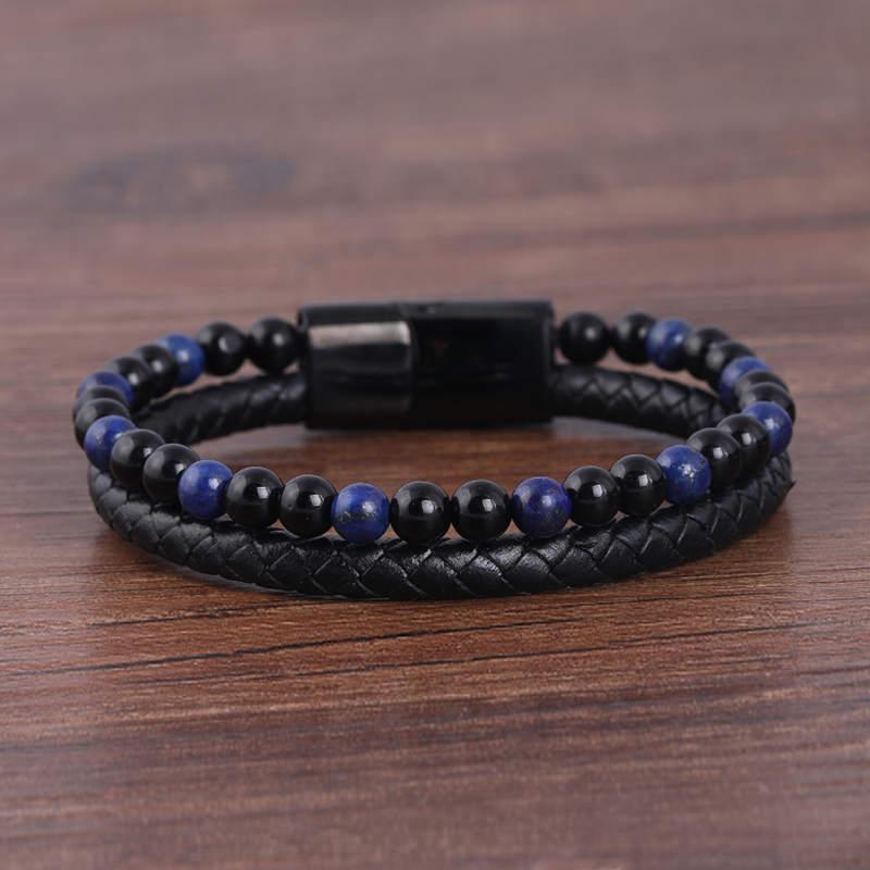 Fashionable Men's Braided Leather Bracelet