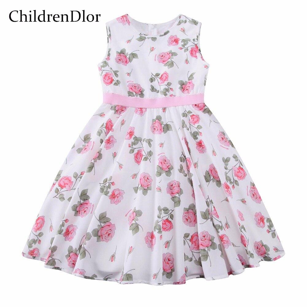 CHILDRENDLOR Pink Floral Dress Girls Fitted Dresses Sleeveless A Shaped Cotton Summer Kids Clothing Child Party Dressing Clothes childrendlor baby brocade floral print