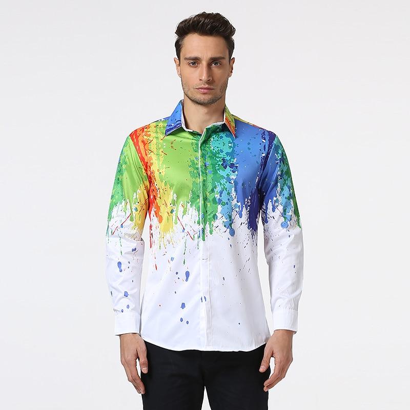 Neue Ankunft Männer Shirt Langarm Männer Druck Bunte Hemden Mode - Herrenbekleidung - Foto 3