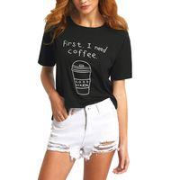 Womens Fashion Black Letter Print Short Sleeve O Neck T-shirt