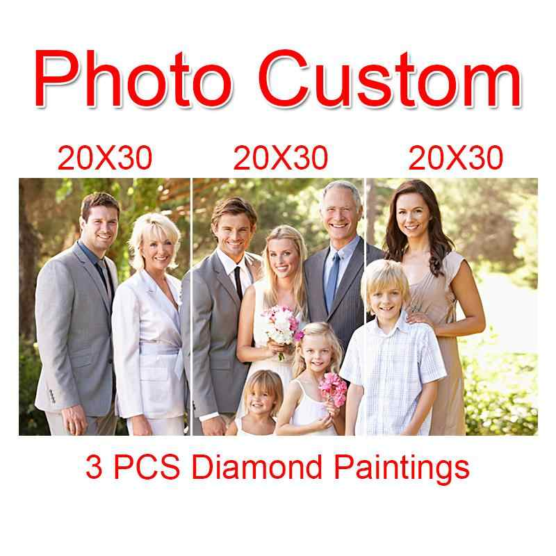 Custom Photo! 3D 3 PCS Combination Diamond Embroidery,Cross Stitch,Full Drill Diamond Painting,Home Decoration,Christmas Gift GT