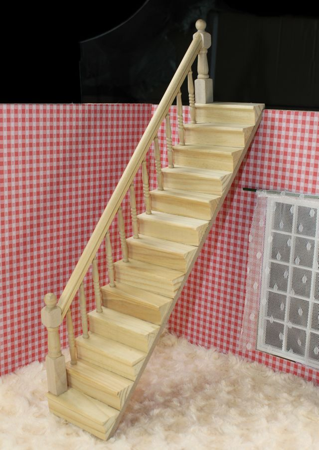 <font><b>1:12</b></font> Doll House Dollhouse <font><b>Miniature</b></font> Wooden Stairs with Side Handrail DIY <font><b>Furniture</b></font> Accessories Drop Shipping image