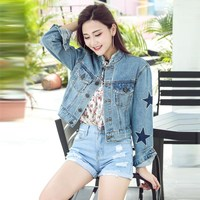 New Fashon Star Printed Pearl Denim Jacket Autumn Women Coats Light Blue Stand Single Breasted 2018