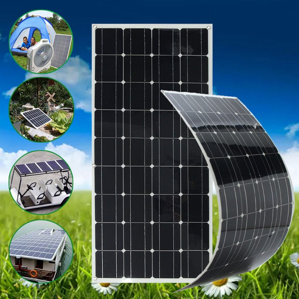 SP-36 120W 12V Semi Flexible Monocrystalline Solar Panel Waterproof High Conversion Efficiency For RV Boat Car + 1.5m Cable 2pcs 4pcs mono 20v 100w flexible solar panel modules for fishing boat car rv 12v battery solar charger 36 solar cells 100w