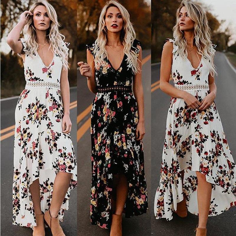 Women Deep V-neck Dress Backless Summer floral Print Dresses Bohemian Hollow out Iregular Long Maxi Dress Vestidos