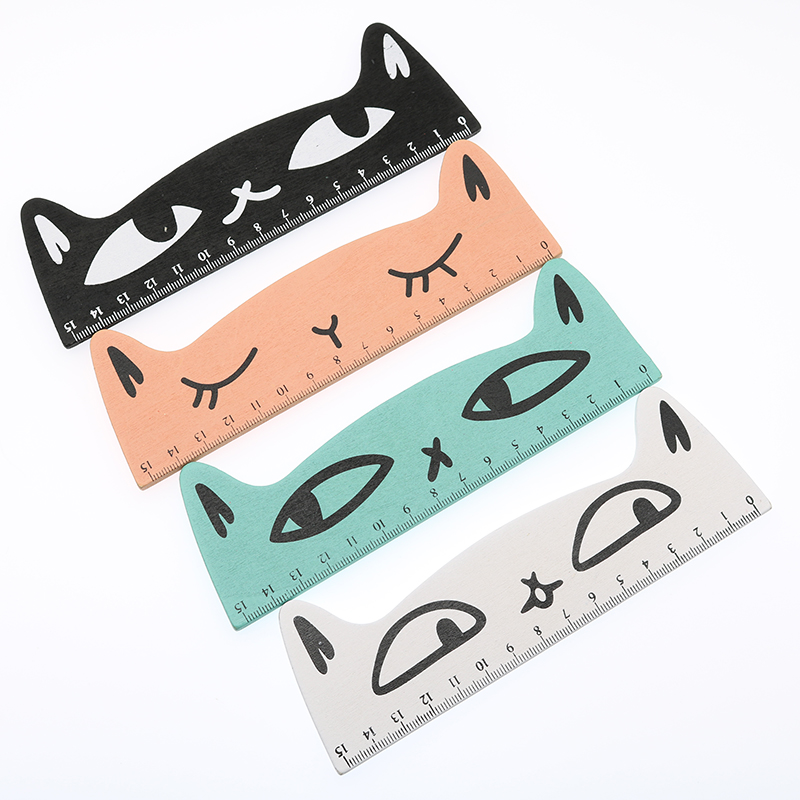 2pc Creative Cat Shape Wooden Ruler Cute Cartoon Ruler 15cm Length Child Student Learning Stationery School Office Supplies
