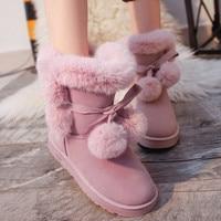 Designer Women Winter Boots Female Butterfly Knot Snow Ankle Boots Flock Fur Plush Ladies Shoes Bottes