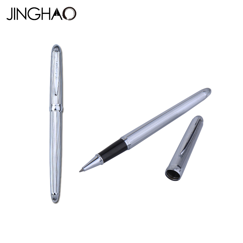 DUKE 318 High End Silver Rollerball Pen Smooth Writing 0.5mm Black Ink Writing Pens with an Original Box Student Teacher Gift