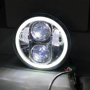 """Image 4 - 1X 黒クローム 5.75 """"hid led ヘッドライトハイ/ロービーム 5 3/4"""" フロント駆動ヘッドライトヘッドランプハーレーモータープロジェクター用"""
