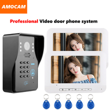 1000TVL Door Camera Video door phone System Video Intercom Doorbell kit support Password / Rfid Keyfobs Card Unlock 2-Monitor