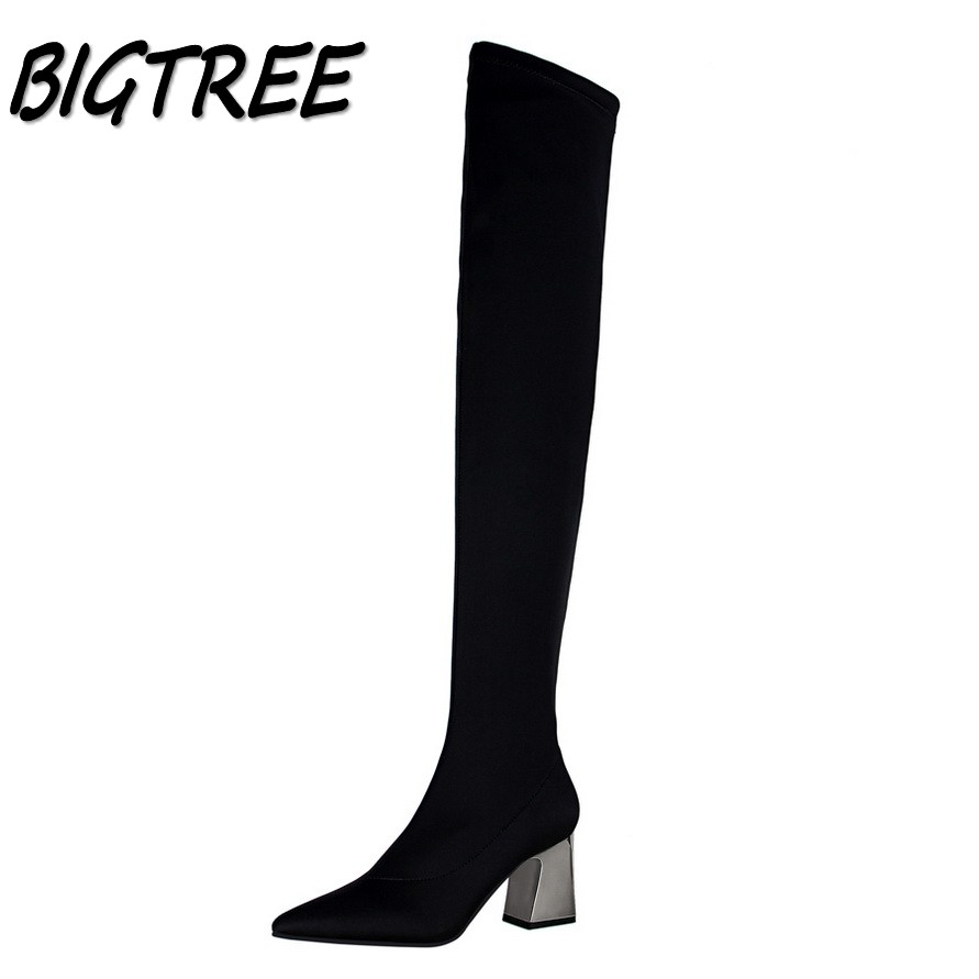 BIGTREE New Women Metal Square heel Boots Shoes Woman Fashion Pointed Toe Sexy Nightclub Stretch Fabric Over-the-Knee long Boots