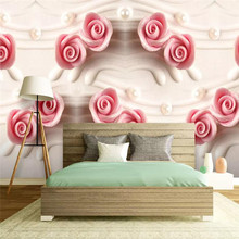Custom wallpaper high-end 3D stereo rose TV sofa living room wall Nordic high quality material waterproof