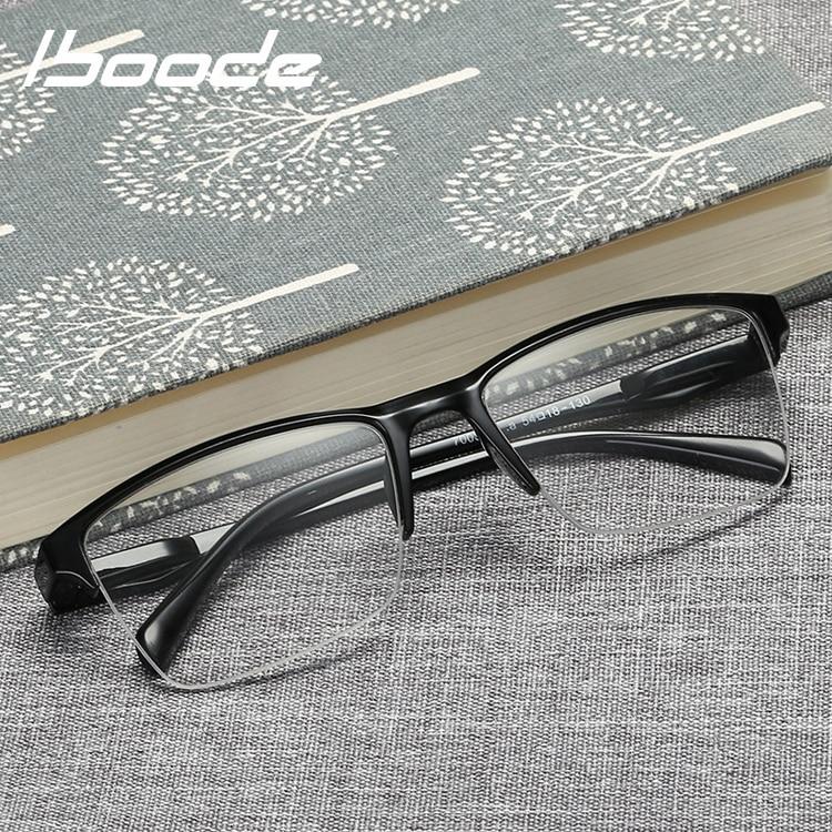 iboode Half Frame Reading Glasses Presbyopic Eyewear Male Female Far sight Glasses Ultra Light Black with strength +25 to +400