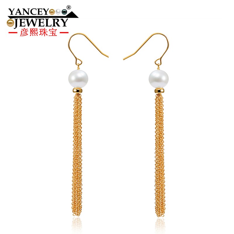 2018 NEW YANCEY Original Design Fine Pearl Long Tassel Star Luxurious Drop Earrings 9K Gold Inlay, The Style of The Goddess yoursfs goddess tassel drop earrings long section of female models fashion earring imitation pearl shining zircon ear pendant page 9